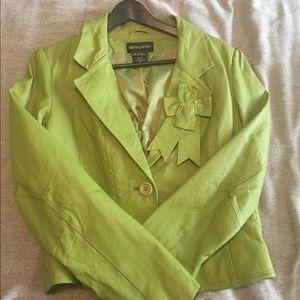 Leather Jacket • Lime Green • Sz 12 • NWOT